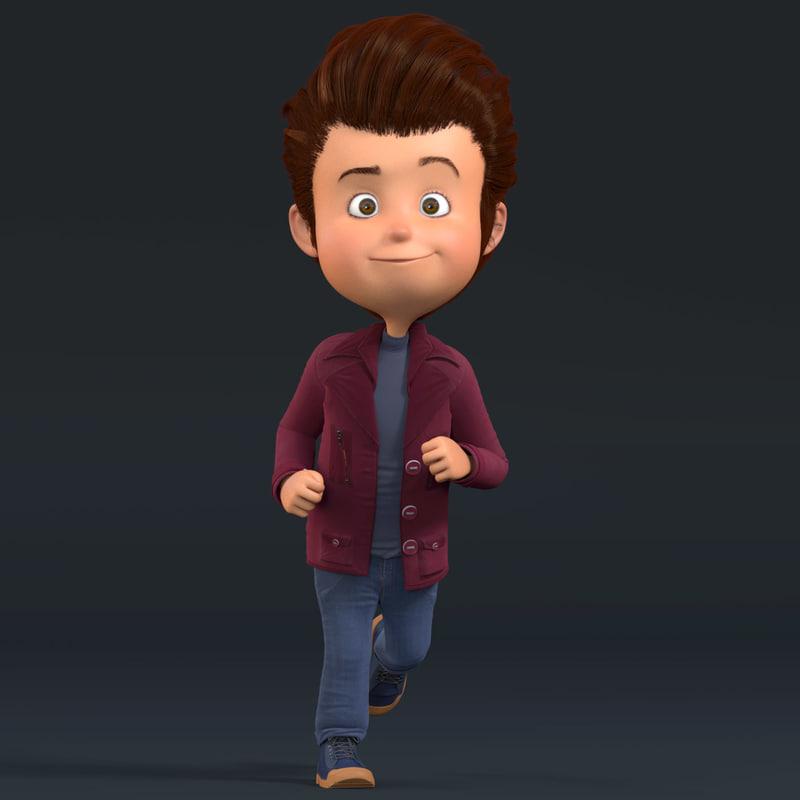 Cartoon Characters 3d Model Download : D cartoon boy rigged character
