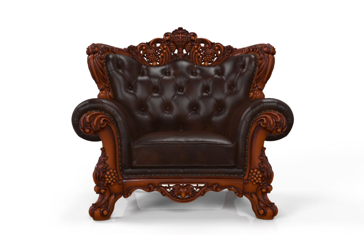 Royal Wooden and Leather Single Sofa(4).png
