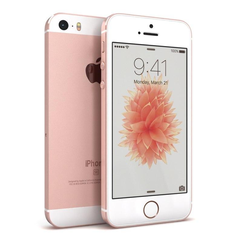 apple iphone se rose 3d model. Black Bedroom Furniture Sets. Home Design Ideas