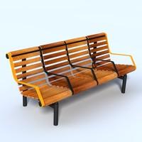 Train Station Bench 3D models