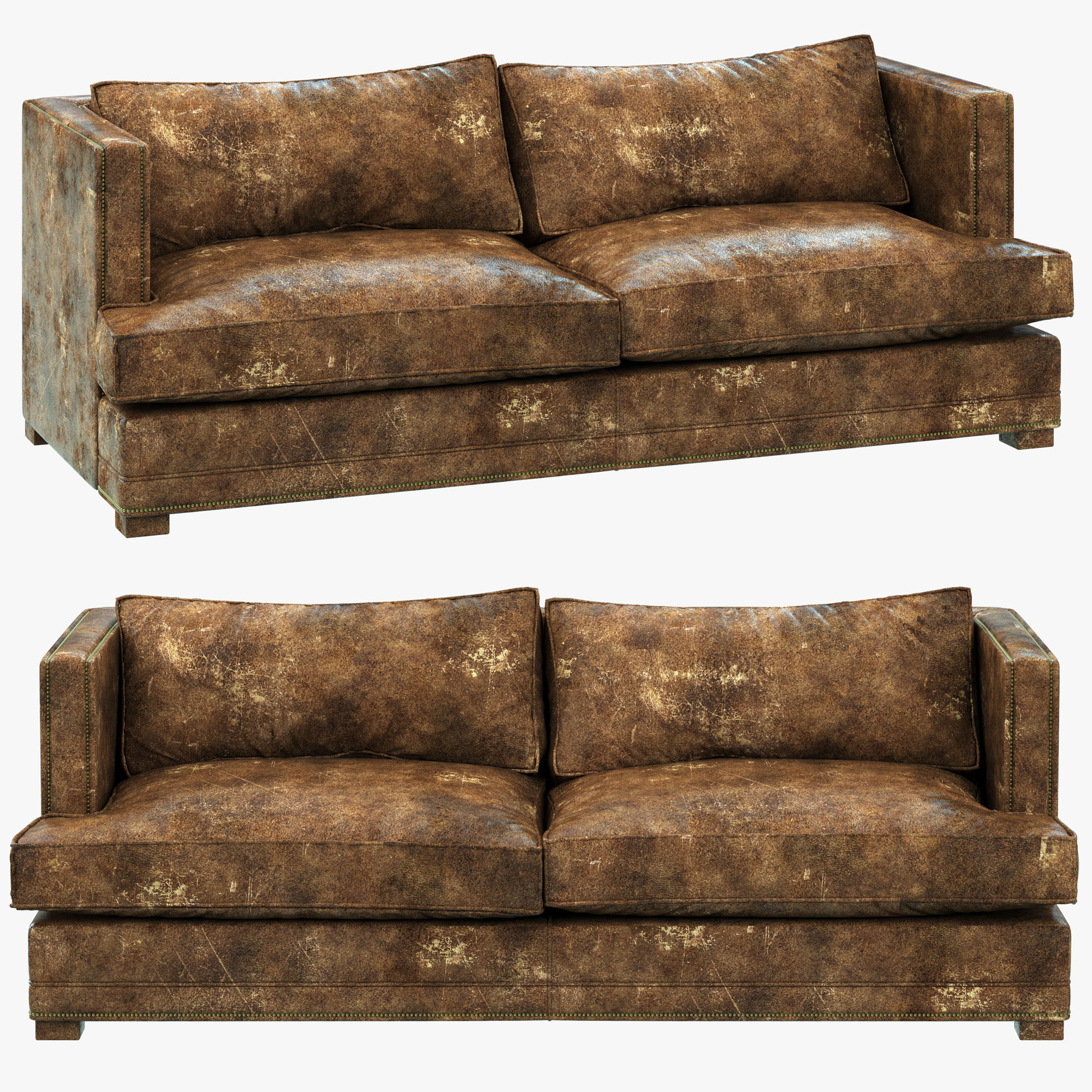 3d model restoration hardware easton leather sofa for Easton leather sectional sofa
