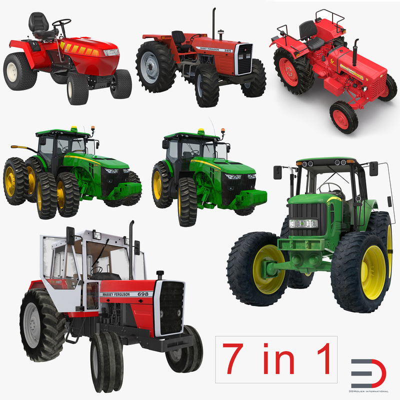 Rigged Tractors Collection 3d models Set 001.jpg