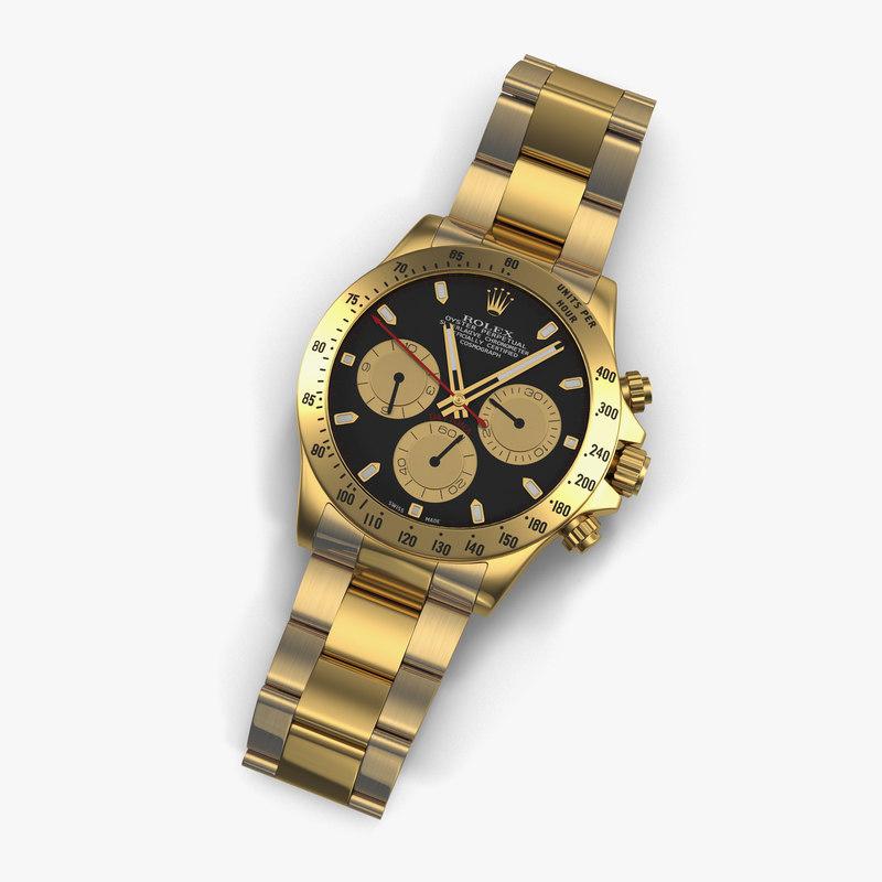 Rolex Gold Daytona Black Dial 3d model 01.jpg