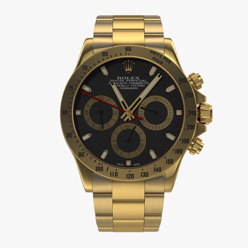 Rolex Gold Daytona Black Dial obj 3d model 01.jpg