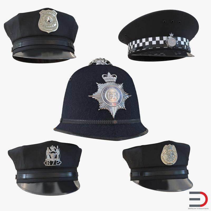 Police Hats Collection 3ds 3d models set 01.jpg