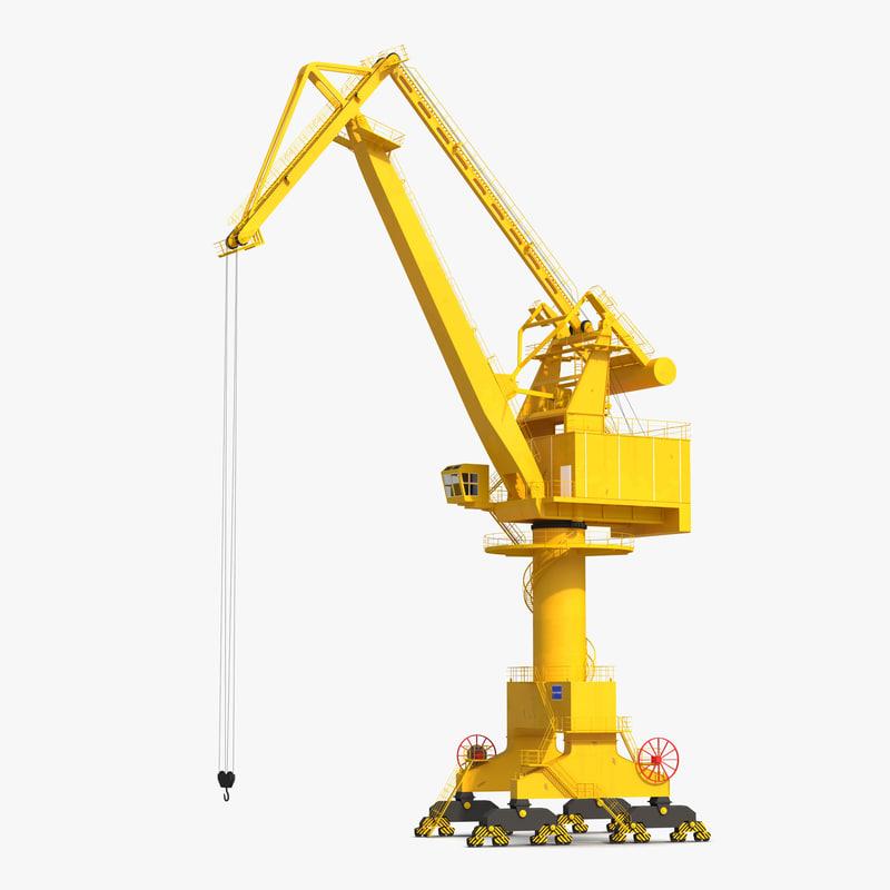 WQQ Port Conteiner Crane Rigged Yellow 3d model 001.jpg