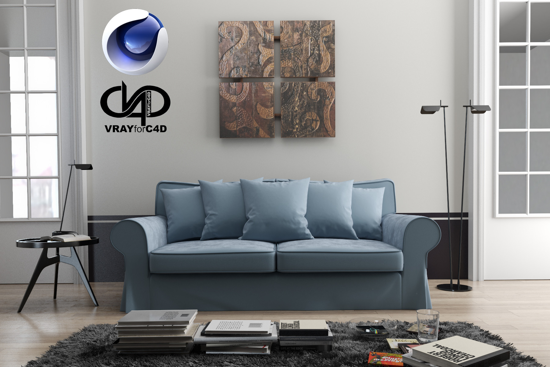 3d model living room 1 9 for Living room cinema 4d