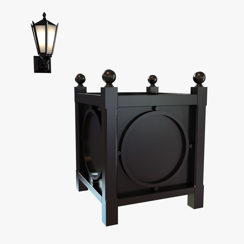 Metal Wall Sconces For Plants : 3d model exterior wall sconce metal