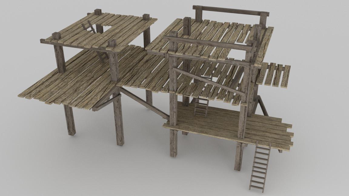 Wooden Scaffolding 3d Obj