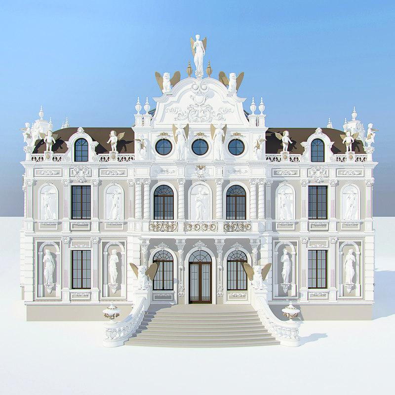 3d model baroque villa for Villas 3d model
