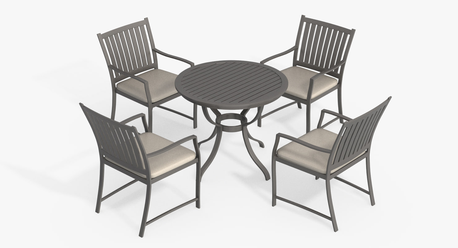 Patio furniture set chair 3d max for Outdoor furniture 3d max