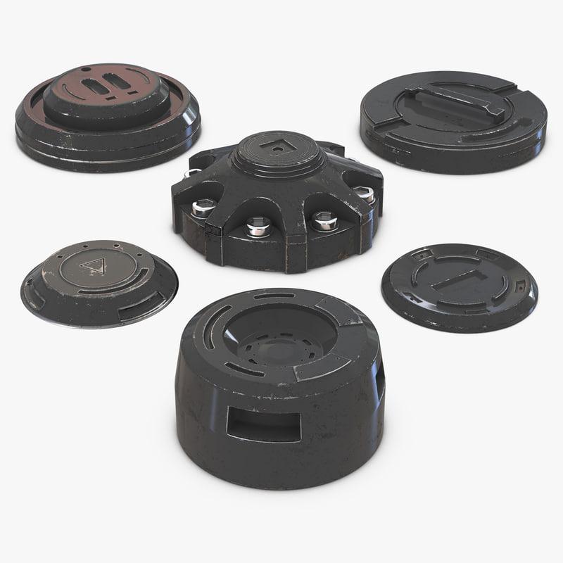 Industrial End Caps Set vray 3d models 00.jpg
