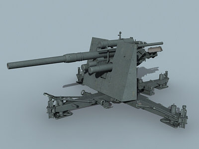 german wwii 8 8cm 3d max - FlaK 36 88mm... by Alex Kontz
