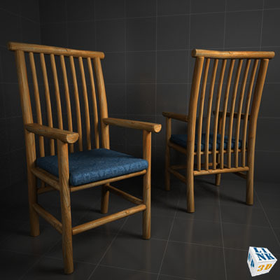 wood chair adirondack 3d model - Rustic Adirondack Wood Chair... by upLink3d