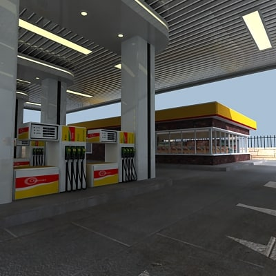 gas station 3d model - gas_station_01.zip... by Giimann