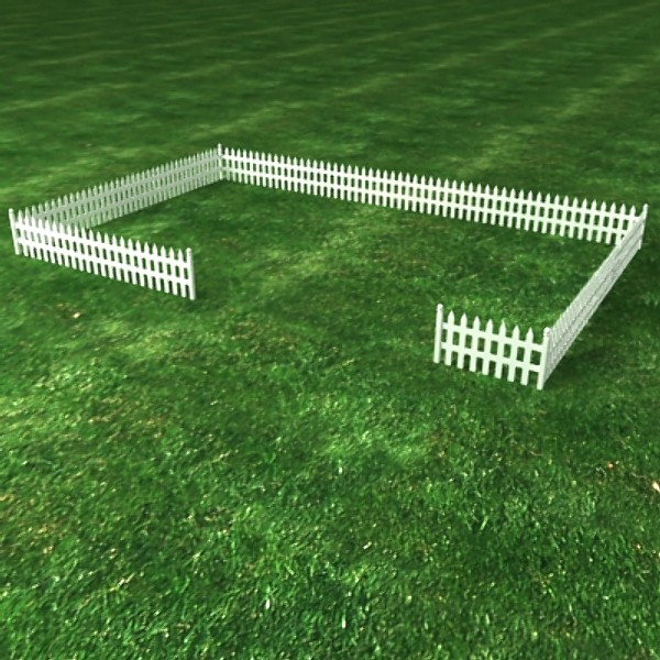 wooden fence 3d max - Picket Fence... by Zetawind Visual