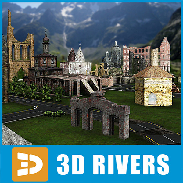 3d model ruined town - Ruined town by 3DRivers... by 3DRivers