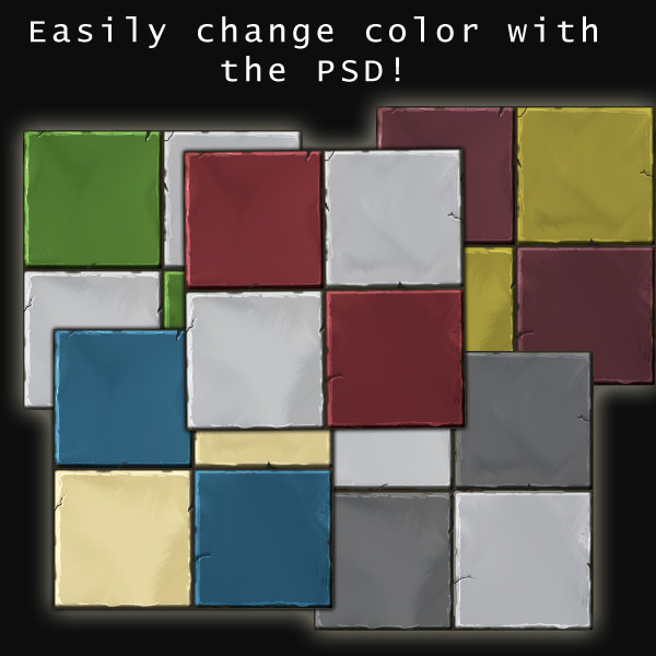 Checker Stone Tile Handpainted
