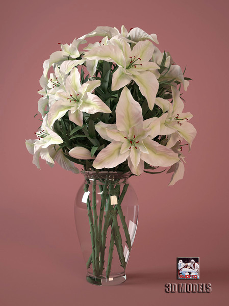 flowers bouquet 3d model - bouquet of flowers... by kupfer