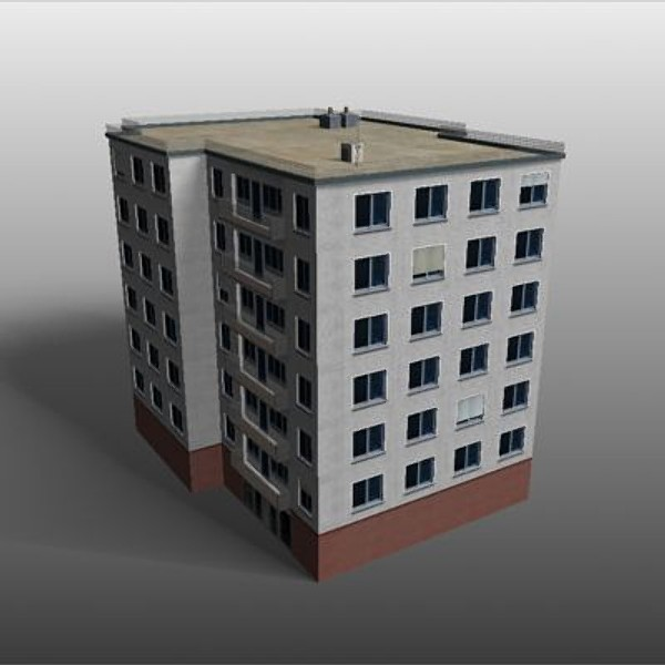 apartmenthouses building 3d model - buildings.zip... by habakuk