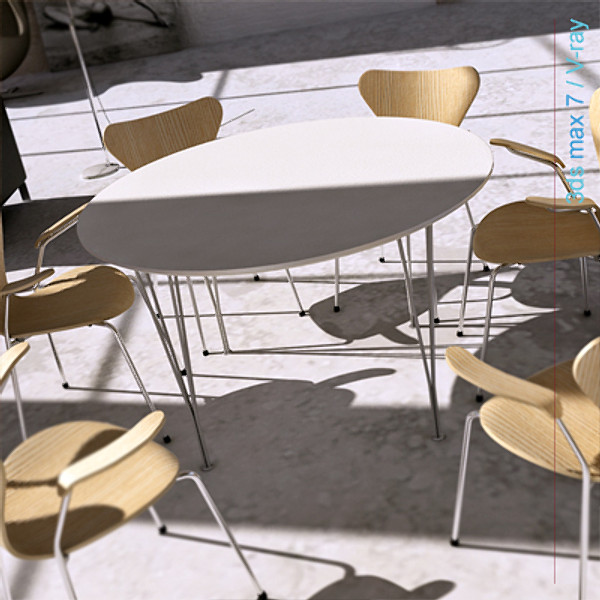 arne jacobsen tables 3d model - circular table span legs... by Lajhar